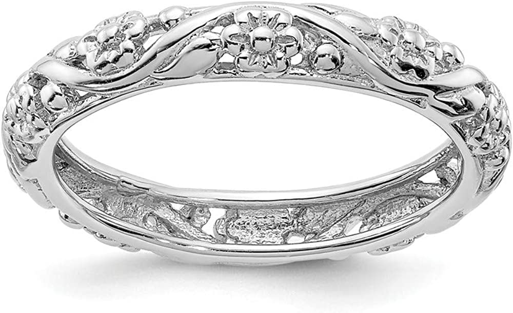 Solid 925 Sterling Silver Stackable El Paso Mall Eternity trust Ring Floral Flower