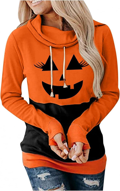 Halloween Graphic Womens Hoodies Tops Casual Long Sleeve Funny Pumpkin Print Drawstring Sweatshirt Cowl Neck Pullover Top