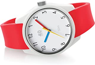 40Nine Men's 'ECLECTIC' Quartz Plastic and Silicone Casual Watch, Color:Red (Model: 40N3.9R)