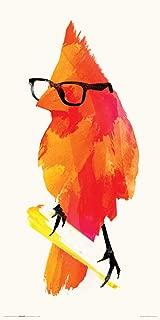 Culturenik Robert Farkas Orange Hipster Bird Modern Contemporary Animal Lifestyle Decorative Art Print (Unframed 12x24 Poster)