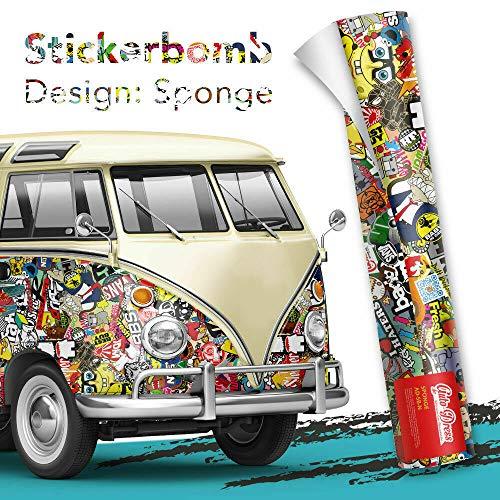 Alle Designs- alle Größen: Stickerbomb Auto Folien glänzend oder matt - Marken Sticker Bomb Logos- JDM Aufkleber (100x150cm, N bunt glänzend)