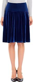 Zeagoo Women Vintage Velvet Skirt High Waist A-line Back Zipper Flared Skirt