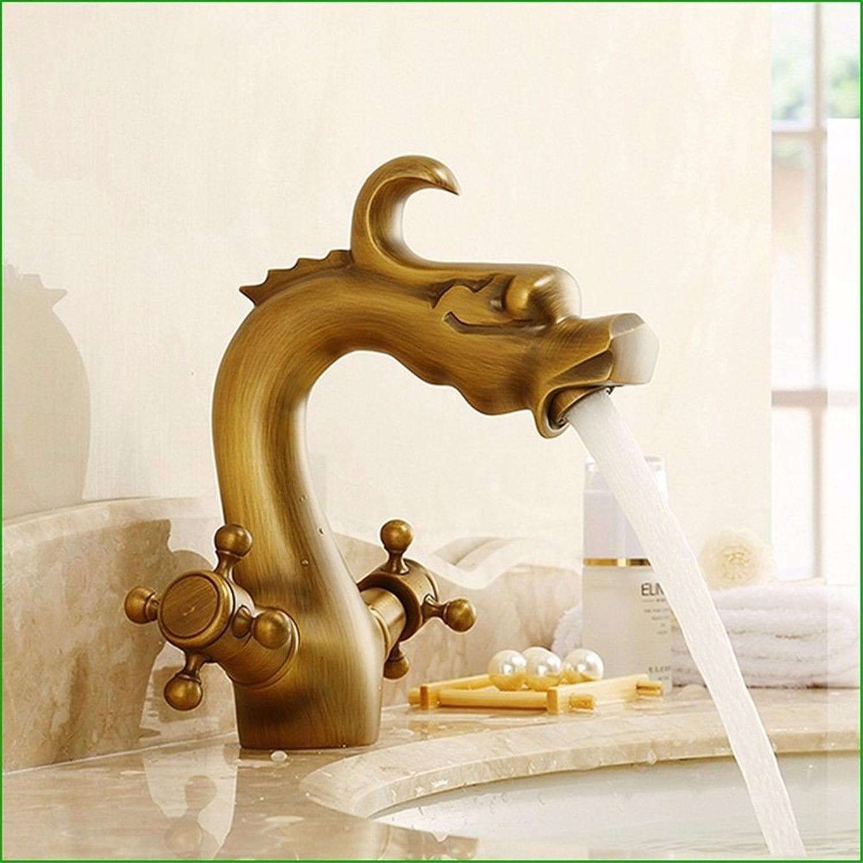 Bijjaladeva Antique Bathroom Sink Vessel Faucet Basin Mixer Tap The dragon-shaped solid brass antique basin Washbasin Faucet lowered basin of cold-hot retro Faucet