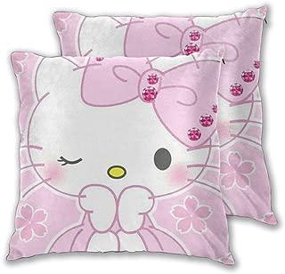 LBAOZHEN Princess Hello Kitty Set of 2 Soft Cozy Decorative Throw Pillow Covers Sofa Throw Pillow Cover - Square Decorative Pillowcase