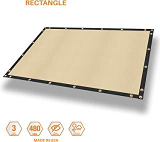 SunShades Depot Waterproof Cover for Pergola Gazebo Carport Awning Tarp Shade Cloth Rectangle Shade Sail Straight Edge with Grommets for Porch Patio Deck Yard 480GSM 9' x 16' Beige