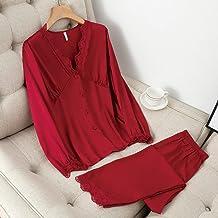 ZZJHH Satijnen pyjama set, lingerie lange mouwen huiskleding casual pyjama, bordeaux, XL