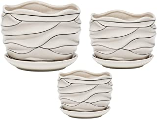 White Ceramic Flower Plant Pots Indoor Garden Plants Containers with Saucers, Set of 3