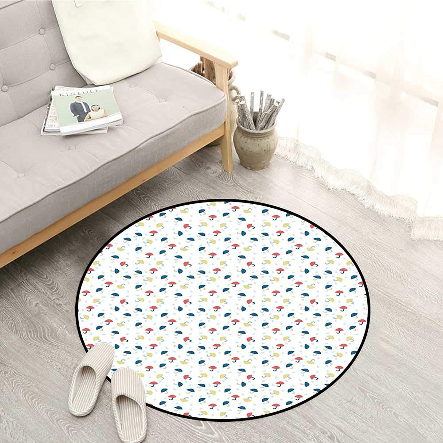Umbrella Carpets Cute and colorful Kids Umbrellas in Disorder with Pale bluee Rain Water Droplets Sofa Coffee Table Mat 4'3  Multicolor