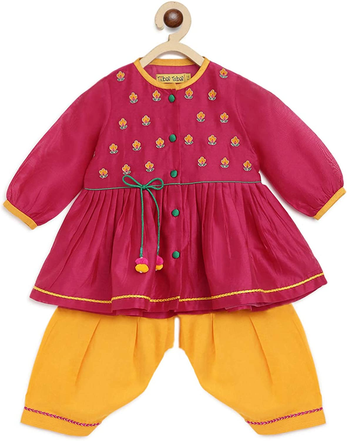 Popular brand in the world Girls Silk Embroidered Cheap mail order specialty store Buta Angrakha Pink - Set Months 3-6