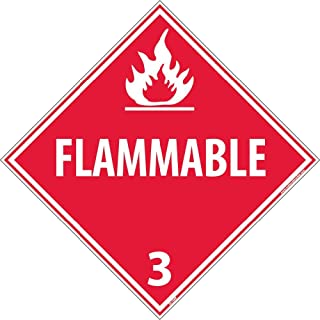 DL158R National Marker Dot Placard Sign,Flammable 3, 10 3/4 Inches x 10 3/4 Inches, Rigid Plastic