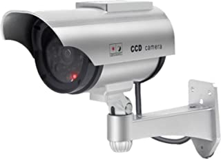 Solar Powered Fake Security Camera, Bullet Dummy Surveillance System with Realistic Red Flashing Lights and Warning Sticke...