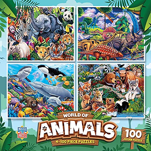 MasterPieces 4-Pack Kids 100 Puzzles Collection - World of Animals 4-Pack 100 Piece Jigsaw Puzzle