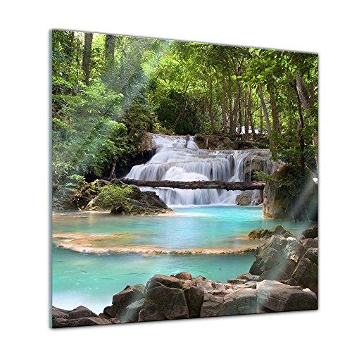 Glasbild - Wasserfall im Wald - 50x50 cm - Deko Glas - Wandbild aus Glas - Bild auf Glas - Moderne Glasbilder - Glasfoto - Echtglas - kein Acryl - Handmade