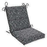 Pillow Perfect Outdoor/Indoor Herringbone Night Square Corner Chair Cushion, 36.5' x 18', Black