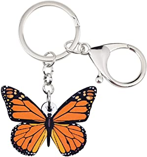 Bonsny Acrylic Orange Morpho Butterfly Keychains Key Ring Car Purse Bags INSECT Charms Gifts
