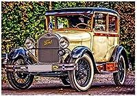 フルラウンドダイヤモンド絵画レトロカー風景ラインストーンモザイクダイヤモンド刺繡クロスステッチ結婚式の装飾40x50cm