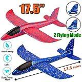 Toyshine,17.5' Large Throwing Foam Plane, Dual Flight Mode, Aeroplane Gliders, Flying Aircraft Toy