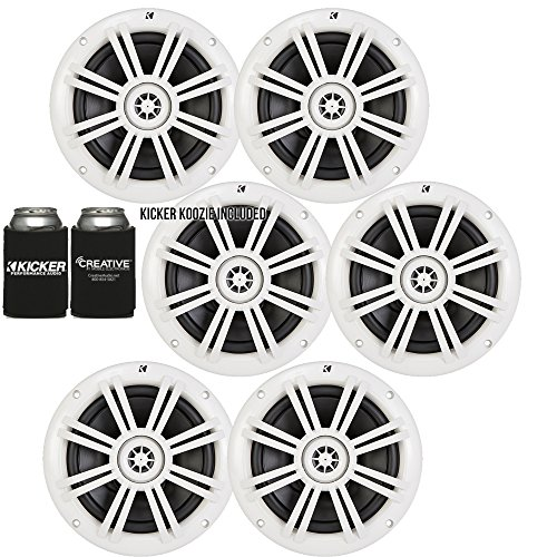 "Kicker White OEM Replacement Marine 6.5"" 4Ω Coaxial Speaker Bundle – 6 Speakers"