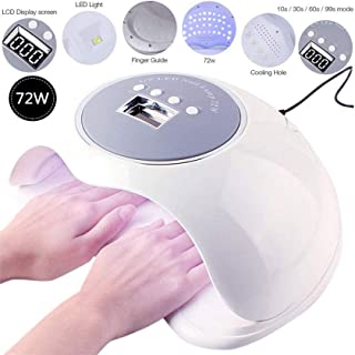 LKNJLL 72W UV LED Nail Lamp,Professional Nail Dryer for Gel Polish Fits Fingernail & Toenail,Nail Light with 4 Timer Setting,Auto Sensor Gel Lamp for Home and Salon Use