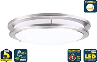 CORAMDEO 15 Inch LED Satin Nickel Ceiling Flush Mount Light for Hallways, Bedrooms, Entry or Kitchen, Built in LED Gives 200W of Light from 27.5W of Power, Dimmable, Satin Nickel Finish, Acrylic Lens