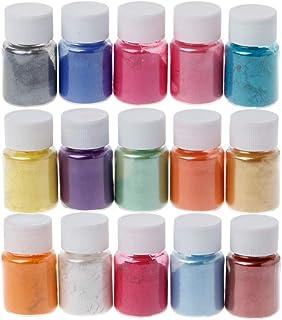 siwetg 15 Colores Glimmer Polvo Resina epoxi colorante Perla Pigmento Brillo Natural Mineral Polvo