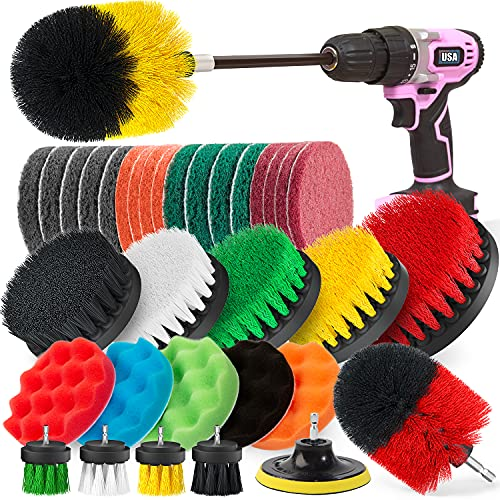 Poobii 38 Pieces Drill Brush Set, Power Scrub Brush with Extend Long Attachment, Scrub Pads & Sponge, Cleaning Brush for Bathroom, Car, Wheels, Carpet, Tile, Floor, BBQ Grill, Kitchen