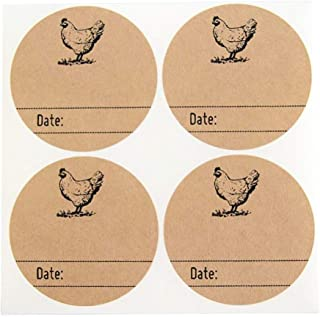 Rustic Kraft Brown Kitchen Pantry Mason Jar Labels with Chicken Design by Onde Upon Supplies, Homestead Canning Stickers, 2 Inches Size for Regular Mouth Jars, 40 Pcs