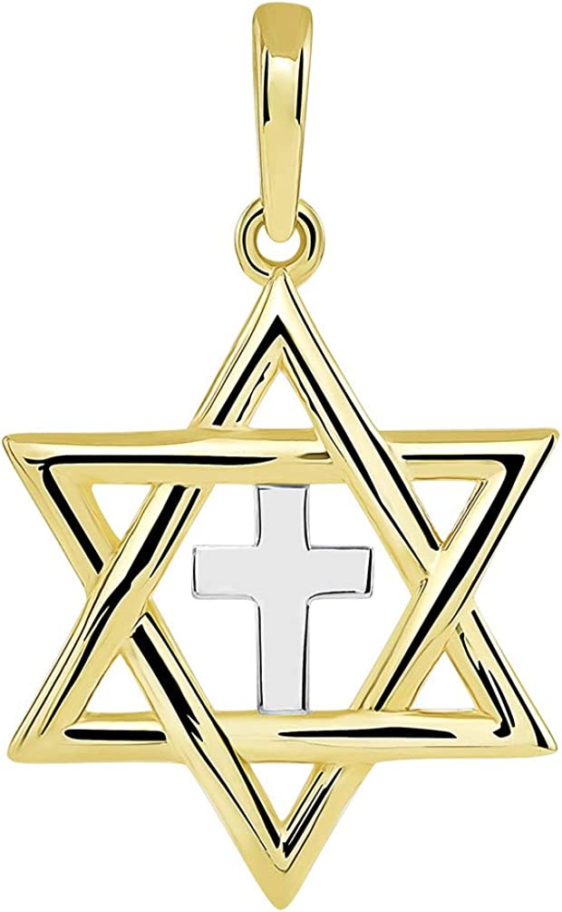 14k Yellow Gold Jewish Star of David with Religious Cross Judeo Christian Pendant (Small)