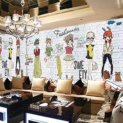 XHXI Mural Wallpaper White Brick Wall Fashion Girl Wallpaper Murals 3D Modern Living Room Bedroom Wall Papers Home Decor 3D Wallpaper Living Room The Wall for Bedroom Mural border-400cm×280cm