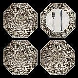 GlobalDream Manteles Ahuecados, 4 Piezas Metálicos Dorados Octágono Manteles Antideslizante Mantel Individual Coaster de Plástico PVC Almohadillas de Aislamiento Alfombrillas(Oro)