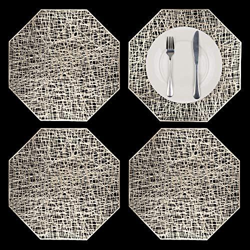 GLOBALDREAM Ausgehöhlte Tischsets, 4 Stück Metallische Achteck Tischsets Laminierter Vinylblatt-Esstisch Dekorativer Rutschfester Tisch Tischset PVC-Kunststoffuntersetzer Isolationspads(Gold)