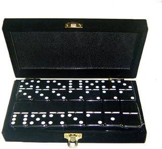 Marion Domino Double 6 Black Jumbo Tournament Professional Size w/Spinners in Elegant Black Velvet Box.