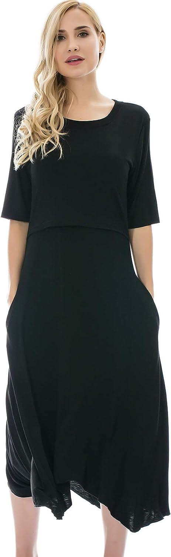 Bearsland Women's Maternity Nursing Dress 1 2 Sleeves Soft Breastfeeding Dresses Pockets