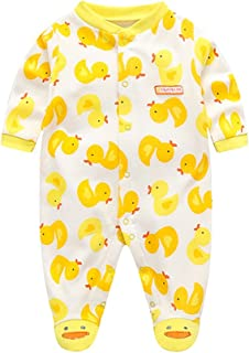 Fairy Baby Baby Boys Girls Footie Pajamas Long Sleeve Animal Print Sleep Play Romper