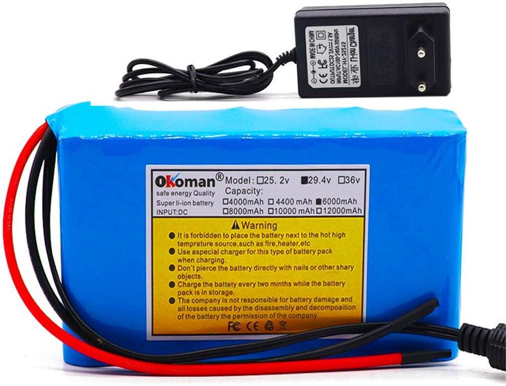 Batería de iones de litio de 29,4 v 100% Paquete de batería 18650 de alta capacidad 6Ah ciclomotor de bicicleta eléctrica/paquete de batería de iones de litio con cargador BMS +