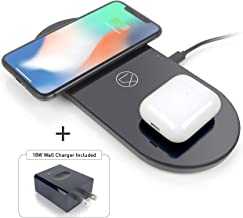 LXORY Dual Wireless Charging Pad - Double Qi Fast Charger for 2 Phones (9W/Pad) - AirPods Wireless Charger Compatible with iPhone X/8 11 Galaxy Pixel All Qi Ready Phones Charging Mat 18W Adapter Incl