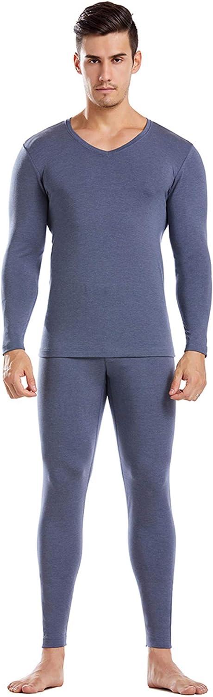 EverNight Men's Thermal Underwear Set, Microfiber Soft Fleece Lined Long Johns,Winter Warm Base V Neck Layer Top,2,XL