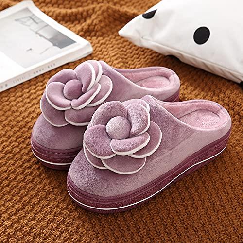Pantuflas Mujer,Pantuflas para Mujer Invierno Fondo Grueso Tela De Algodón Púrpura Tridimensional Cierre De Flor De Rosa Piso Suave Y Cálido Zapatilla Pantuflas De Espuma Viscoelástica Lavables