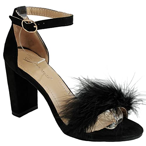 8196b27666 JJF Shoes Women's Fluffy Feather Strappy Open Toe Mary Jane Faux Suede Pom  Pom Block Heel