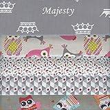 Textiles français Stoffpak Bundle de Telas - 5 Telas: Gris con Rojo, Gris Plata, Rosa, Verde y Turquesa - colección de Telas 'Majesty' (Nueva edición) | 100% algodón | 50 cm x 40 cm