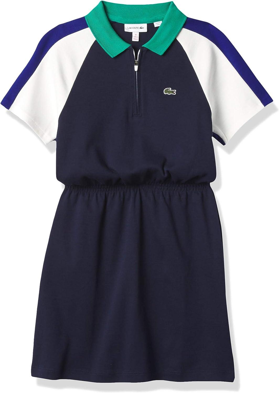 期間限定今なら送料無料 Lacoste Girls Short Sleeve 価格 交渉 送料無料 Placket Zip Colorblock Dress