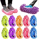 10Pcs Mop Slippers for Women Washable, Microfiber Shoes Cover Reusable Dust Mops for Floors Cleaning, Mop Socks for Foot Dust Hair Cleaners Sweeping House Office Bathroom Kitchen
