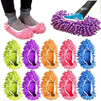 10Pcs Mop Slippers for Floor Cleaning Washable Reusable Shoes Cover Microfiber Dust Mops Mop Socks for Women Men Kids Foot Dust Hair Cleaners Sweeping House Office Bathroom Kitchen