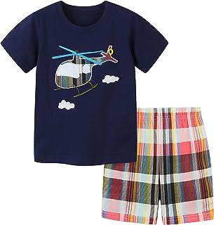 Listenwind Toddler Boy Clothes Kids Boy Summer Outfits Short Sleeve T-Shirt and Short Sets 2-7T