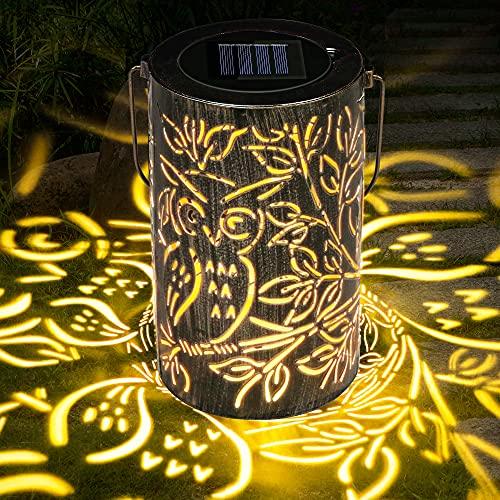 Solarlaterne für außen, LED Solar Laterne Hängend für Draußen, gartenlaternen aus Metall IP44 Wasserdicht, Dekorative Solarlampen für Garten, Terrasse,Veranda, Rasen, Hof