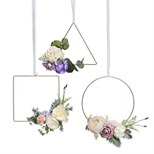Ling's moment Floral Hoop Wreaths, Set of 3, 10