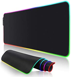 RGB Gaming Mouse Pad, LED Soft Extra Extended Large Mouse Pad, Anti-Slip Rubber Base, Computer Keyboard Mouse Mat (78x30 cm)