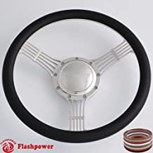 Flashpower 15.5'' 5-String Billet Banjo Full Wrap Steering Wheel with 9 Bolts 2'' Dish and Horn Button (Black)