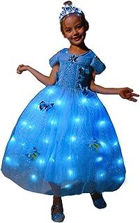 Girls Princess Costume LED Light up Fancy Dresses Up Christmas Party Dress Blue Butterfly