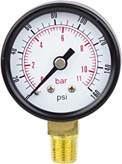 PneumaticPlus PSL15-160 Pressure Gauge, Lower Mount, 1-1/2